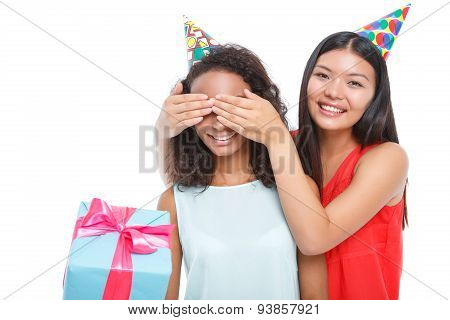 Nice girl making birthday surprise