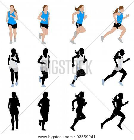 female runner silhouettes and illustration