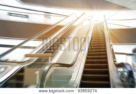 Shop escalator in shopping center