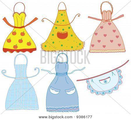 Funny bright aprons set