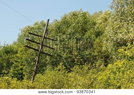 Old Rickety Wooden Telegraph Pole