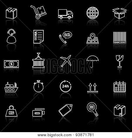Logistics Line Icons With Reflect On Black
