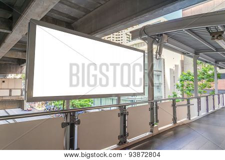 Large Blank Billboard On Overpass With City View Background