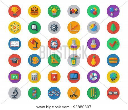 Flat School Icons on Circles with Shadow. Vector Collection.