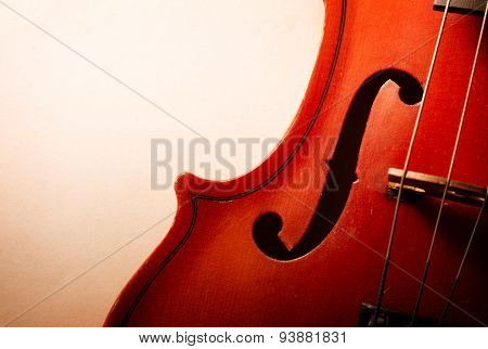 Close Up Of Waist Of Wooden Violin