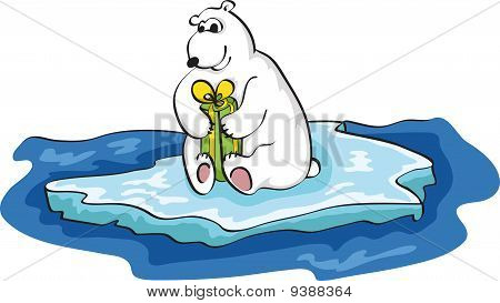 Polar White Bear and Christmas Gift on ice floe poster