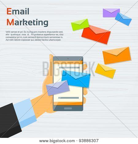 poster of Hand Cell Smart Phone Envelope Send Business Mail Vector Illustration