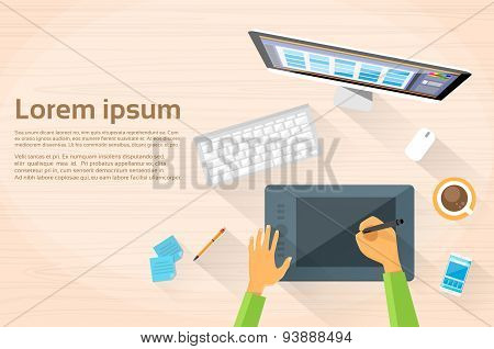Graphic Designer Hands Workplace Desk Computer Desktop Workstation