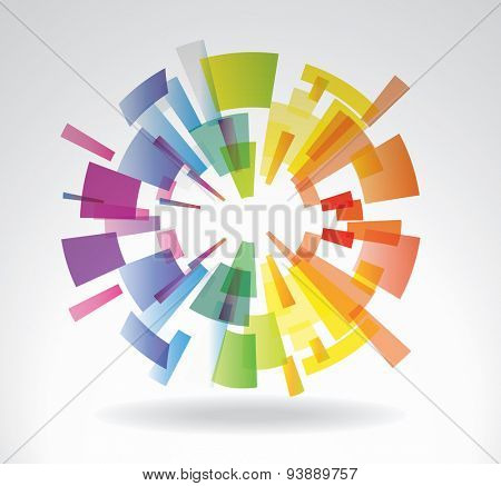 Abstract vector sphere from multi-colored elements
