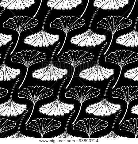 White Gingko Leaf Sketch Doodle Set 2