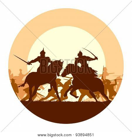 Round Illustration Of Medieval Battle With Fight Of Two Mounted Warriors.