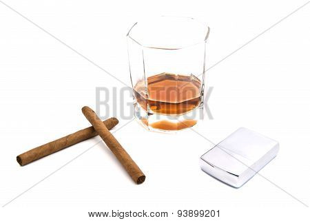 Whiskey, Lighter And Two Cigarillos