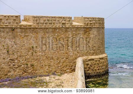 Tourist site of Akko sea bastion walls in Israel. poster