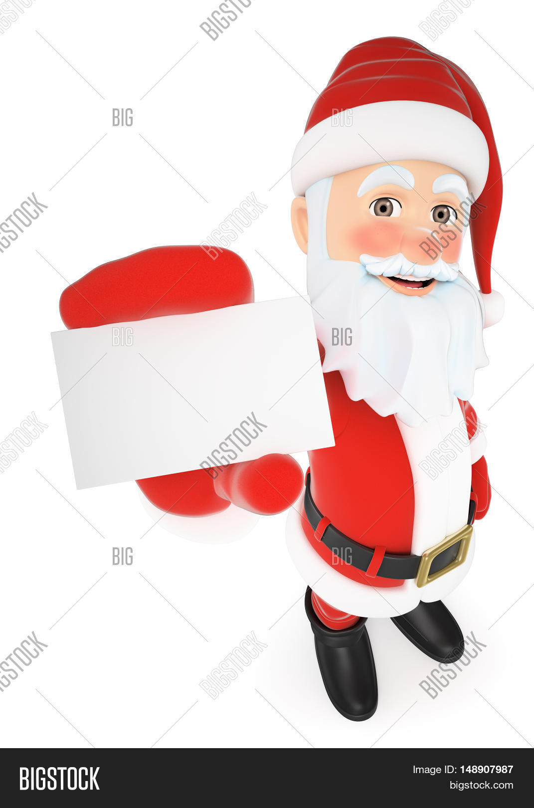 3d christmas people illustration. Santa Claus showing a blank card. Isolated white background.