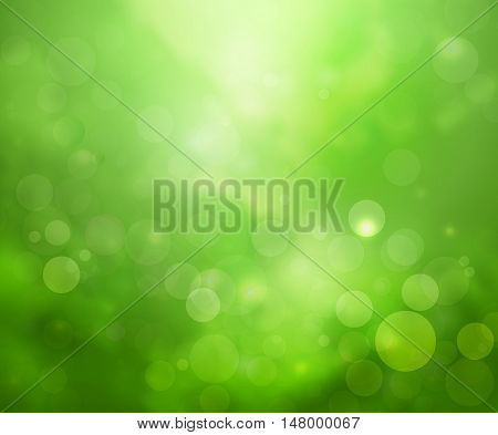 Green lights background fantasy bokeh rain forest style