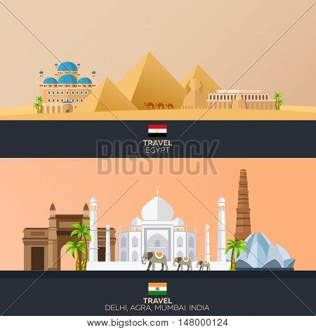 Egypt And India. Tourism. Travelling Illustration. Modern Flat Design. Egypt Travel. India