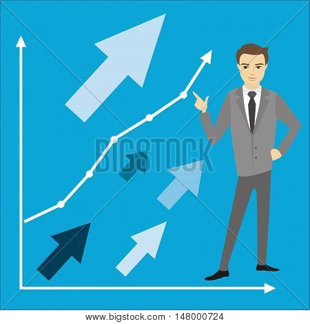 Business or finance conceptgrowth chart and businessman vector illustration