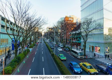 Tokyo, Japan - January 26, 2016: Omote Sando Road in evening.