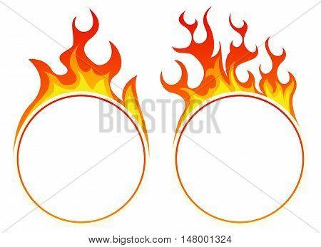 Burning round frame set on white background