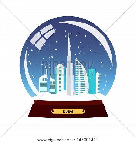 Snow Globe City. Dubai In Snow Globe. Winter Travel Vector Illustration