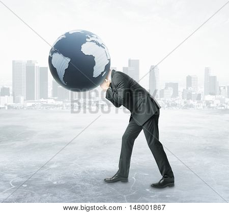Businessman with terrestrial globe instead of head on abstract city background. 3D Rendering. Global business concept