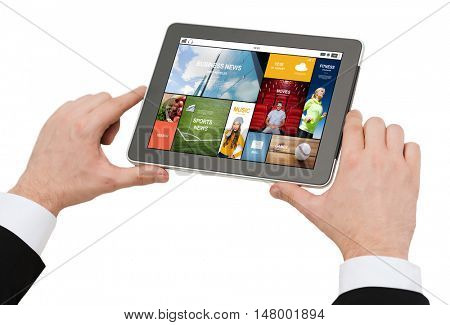 business, people and technology concept - close up of man hands holding tablet pc computer with on screen