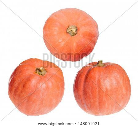 three red pumpkins isolated on white background