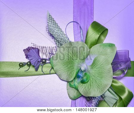 decoration with green orchid and ribbons on lilac background