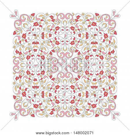 Ornate square floral element for design. Ornamental illustration for wallpaper wedding invitations, birthday and greeting cards.