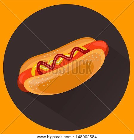 Barbecue, hot dog, BBQ vector illustration, beautiful flat style