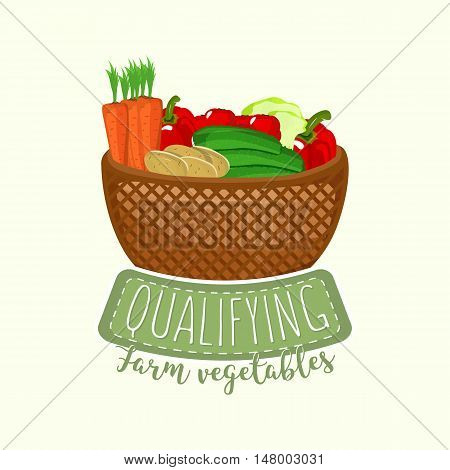 Painted logo design of full vegetable basket with frame and lettering. Vector illustration for food design, farm shop, branding, sticker and label design.