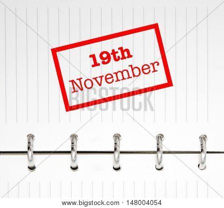 19th November written on an agenda