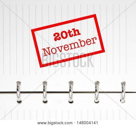 20th November written on an agenda