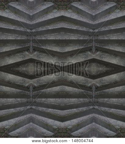 Stone background wall table. Background for scrapbook top view. Collage with mirror reflection. Mysterious stone backdrop. Seamless pattern