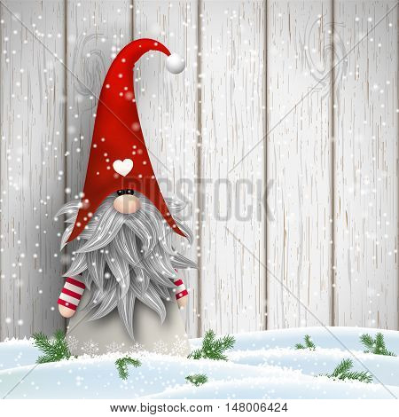 Nisser in Norway and Denmark, Tomtar in Sweden or Tonttu in Finnish, Scandinavian folklore elves, nordic christmas motive, Tomte standing in front of white wooden wall in snow, vector illustration, eps 10 with transparency