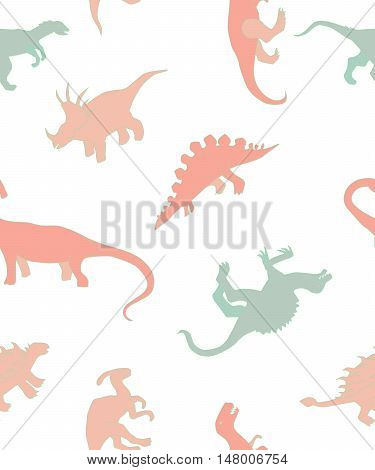 seamless pattern with dinosaurs colorful dinosaurs on a white background children's pattern