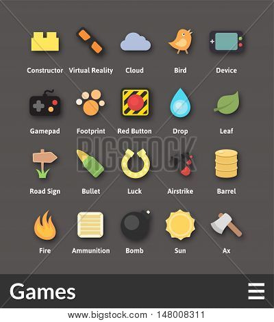 Flat material design icons set - game collection