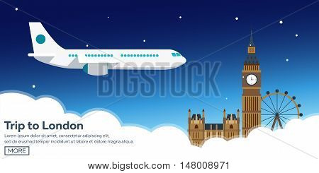 Trip To London. Tourism. Travelling Illustration. Modern Flat Design. Travel By Airplane, Vacation,