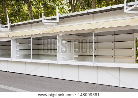 Prefabricated stands set up at Madrid Book Fair, Spain
