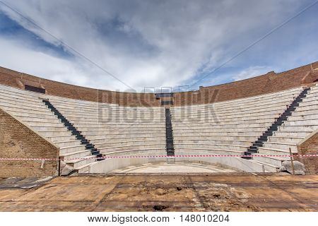 Amphitheater in Roman Odeon, Patras, Peloponnese, Western Greece