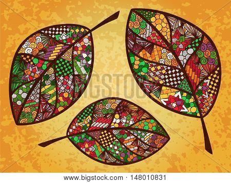 Leaf doodle illustration. Autumn theme ornament. Zentangle coloring page. Vector image