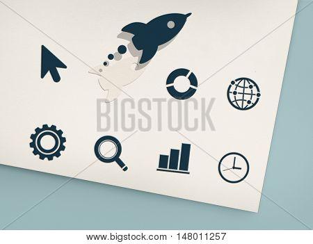 Innovation development Rocket Graphic Concept
