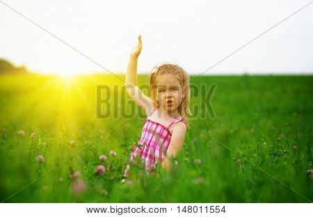 little girl on the meadow in spring day