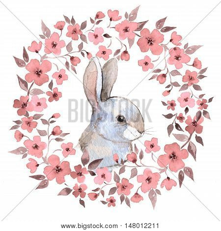 White rabbit 2. Rabbit and floral wreath. Watercolor illustration 2. Isolated on white background
