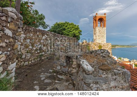 Sunset viewof  Clock tower in Nafpaktos town, Western Greece