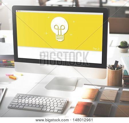 Light Bulb Ideas Creativity Log In Concept