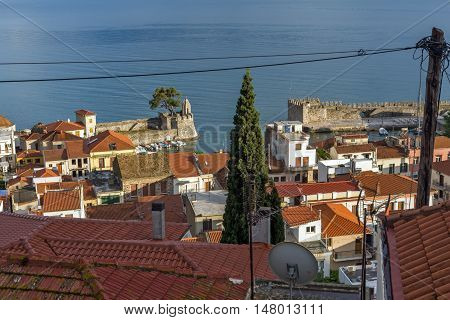 Amazing panorama with Fortification at the port of Nafpaktos town, Western Greece