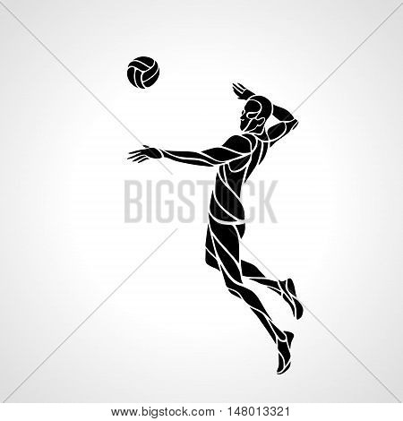 Volleyball player attacking the ball - black vector silhouette. Modern simple volleyball logo. Eps 8
