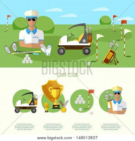 Golf infographic elements banners elite golf club man playing golf game of golf vector illustration