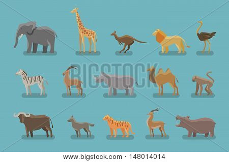 Animals set of colored icons. elephant, giraffe, kangaroo, lion, ostrich, zebra, mountain goat, Rhino camel monkey ox wolf tiger antelope hippo